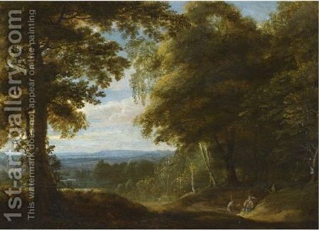 A Wooded Landscape With Two Hunters Resting Beside A Track by Cornelis Huysmans - Reproduction Oil Painting