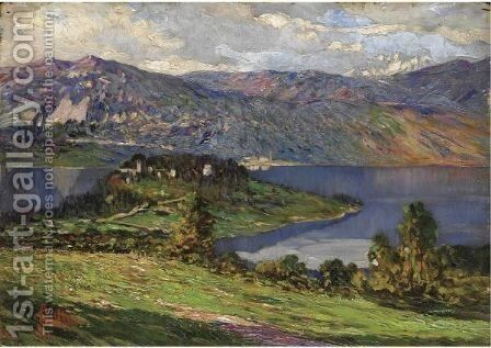 Lago D'Orta by Carlo Cressini - Reproduction Oil Painting