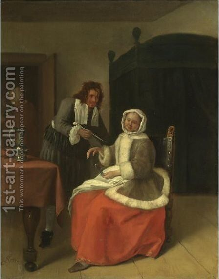 A Young Man Offering A Pipe To A Seated Girl Holding An Empty Wine Glass by Jan Havicksz. Steen - Reproduction Oil Painting