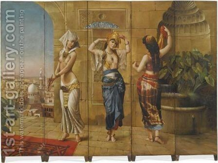 Harem Dancers - A Five Panel Screen by Continental School - Reproduction Oil Painting