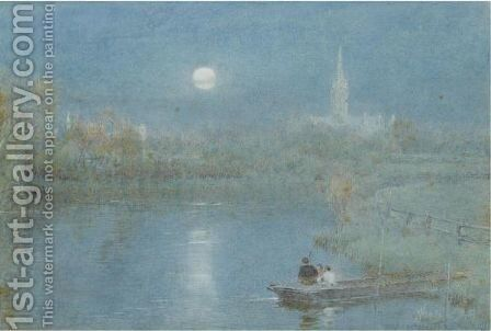 Figures Boating Before Salisbury Cathedral In The Moonlight by Albert Goodwin - Reproduction Oil Painting