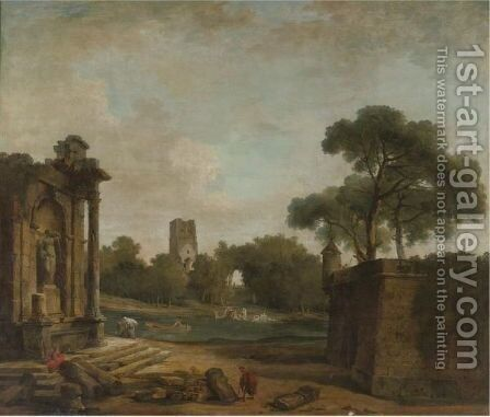 Figures In A Landscape With Roman Ruins And A Gothic Tower by Hubert Robert - Reproduction Oil Painting