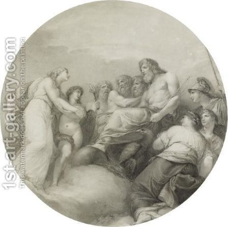 Cupid Introducing Psyche To Jupiter by Andrea, the Elder Appiani - Reproduction Oil Painting