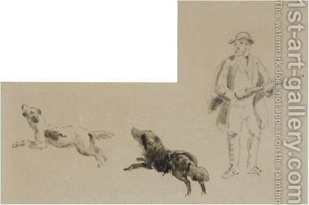 A Sportsman With His Two Retrievers by David Cox - Reproduction Oil Painting