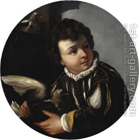 Ragazzo Con Colomba by (after) Pier Francesco Mola - Reproduction Oil Painting