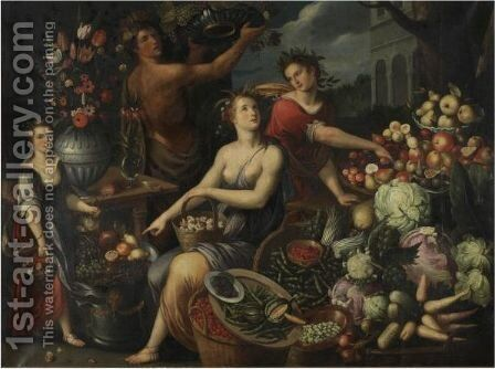 An Allegory With Bacchus And Ceres by Jean Baptiste de Saive - Reproduction Oil Painting