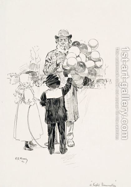 Baloon seller by Benjamin E. Minns - Reproduction Oil Painting