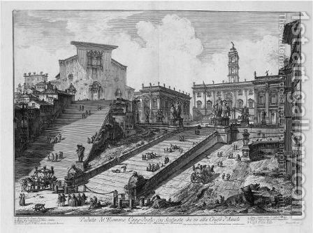 Capitol And The Steps Of S. Maria In Aracoeli by Giovanni Battista Piranesi - Reproduction Oil Painting