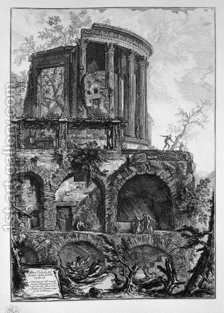 And Temple Of The Sibyl, Tivoli by Giovanni Battista Piranesi - Reproduction Oil Painting