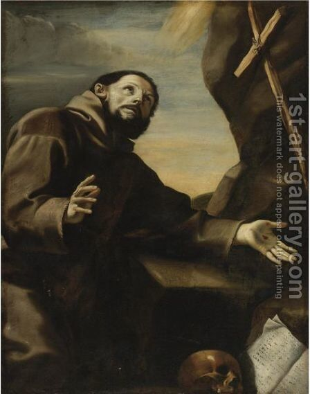 St. Francis In Prayer by (after) Mattia Preti - Reproduction Oil Painting