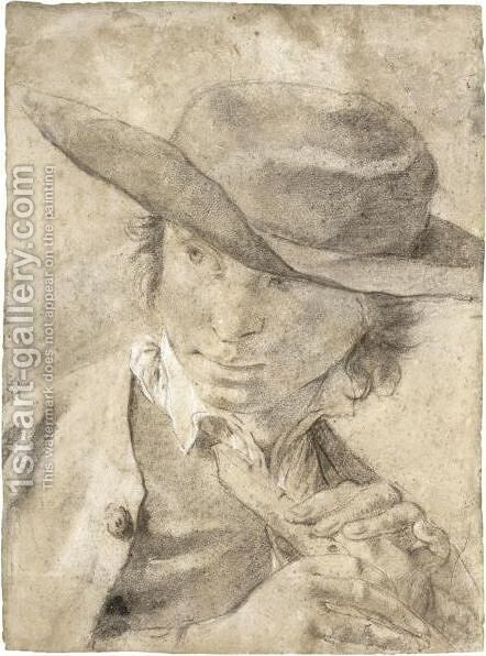 A Boy In A Broad-Brimmed Hat, Holding A Flute by Giovanni Battista Piazzetta - Reproduction Oil Painting