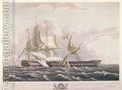 The battle between the USS Constitution and the HMS Guerriere by (after) Birch, Thomas - Reproduction Oil Painting