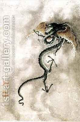 A winged dragon, from an album of 12 depicting animals and birds, Chinese by Jiao Bingzhen - Reproduction Oil Painting
