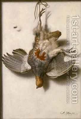 A trompe l'oeil of an English partridge suspended from a nail by Jacobus Biltius - Reproduction Oil Painting