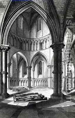 Interior of the Temple Church showing the effigies of the Knights by (after) Billings, R.W. - Reproduction Oil Painting