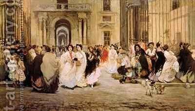 The Cigar Makers Leaving the Tobacco Factory in Seville by Gonzalo Bilbao Martinez - Reproduction Oil Painting