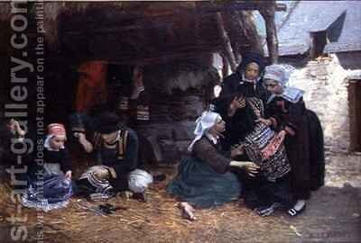 Embroiderers at work by Alexandre le Bihan - Reproduction Oil Painting