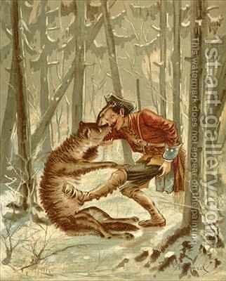 Baron Munchausen's encounter with a wolf by Alphonse Adolphe Bichard - Reproduction Oil Painting