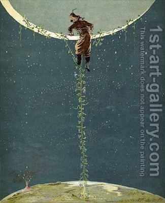 Baron Munchausen climbs up to the moon by way of a Turkey bean plant by Alphonse Adolphe Bichard - Reproduction Oil Painting