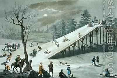 Snow slide in a Russian public park by Angelo Biasioli - Reproduction Oil Painting