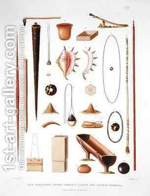 Household utensils and weapons from the Mariannas Islands by (after) Bevalet, Antoine Germain - Reproduction Oil Painting