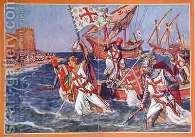 The Disembarkation of King Louis IX (1215-70) during the Crusades by J. L. Beuzon - Reproduction Oil Painting