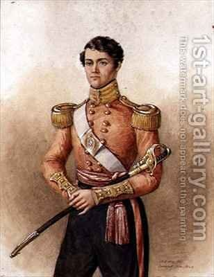 Portrait of Major Charles Hamilton Wake (d.1871) 34th Native Indian Infantry by Mary Ellen Best - Reproduction Oil Painting