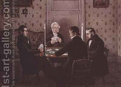 Anthony playing cards with his friends by Mary Ellen Best - Reproduction Oil Painting