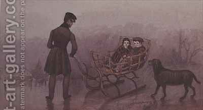 Anthony, Frank and Caroline sledging on the ice by Mary Ellen Best - Reproduction Oil Painting
