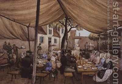 An Outdoor Cafe in Germany, probably at Speyer by Mary Ellen Best - Reproduction Oil Painting