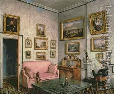 Col. Norcliffe's study at Langton Hall by Mary Ellen Best - Reproduction Oil Painting