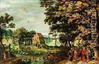 Landscape with Christ healing the Blind Man by Johann Jacob Besserer - Reproduction Oil Painting