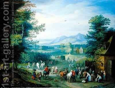 The Grape Harvest, Figures in a Country Landscape by Charles Beschey - Reproduction Oil Painting