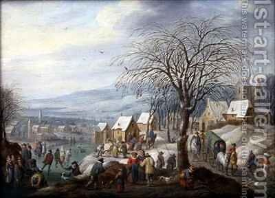 A Village Winter Landscape by Charles Beschey - Reproduction Oil Painting