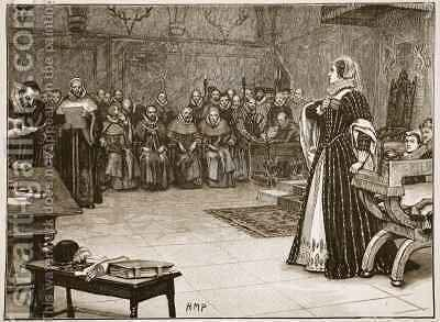 Trial of Mary Queen of Scots in Fotheringay Castle by (after) Berveiller, Edouard - Reproduction Oil Painting