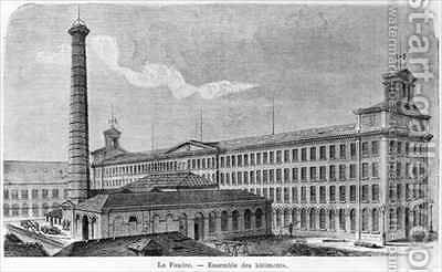 'La Foudre' cotton mill by (after) Bertrand, Auguste - Reproduction Oil Painting