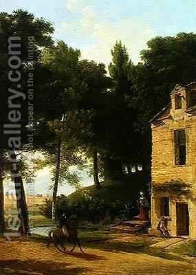 Italian Landscape with a Cavalier by Jean-Victor Bertin - Reproduction Oil Painting