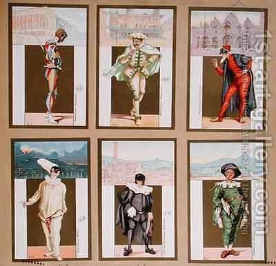 Set of six vignettes depicting characters from the Commedia dell'Arte by Bertelli - Reproduction Oil Painting