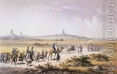 Entrance of Heinrich Barth's (1821-65) Caravan into Timbuktu in 1853, from 'Travels and Discoveries in North and Central Africa' by (after) Bernatz, Johann Martin - Reproduction Oil Painting