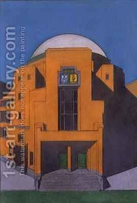 Plan of the entrance to the Gemeentemuseum, the Hague by H.P. Berlage - Reproduction Oil Painting