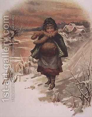 Girl on a snowy road by Edith S. Berkeley - Reproduction Oil Painting