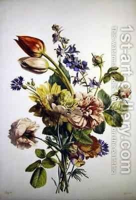 Study of a bunch of flowers by Antoine Berjon - Reproduction Oil Painting