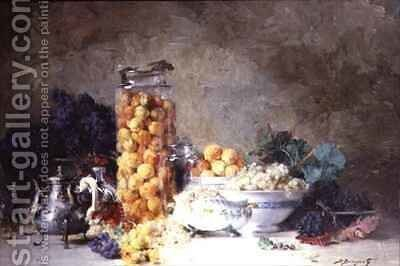 Still life of apricots and other fruit by Denis Pierre Bergeret - Reproduction Oil Painting