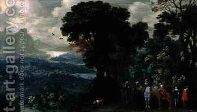 Landscape with travellers purchasing game by H. Bergaignie - Reproduction Oil Painting