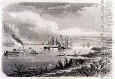 A Steamer and a Tug Boat on the Mississippi by (after) Berard, Evremond de - Reproduction Oil Painting