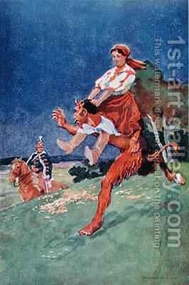 The Devil being ridden by a woman by Istvan Benyovsky - Reproduction Oil Painting