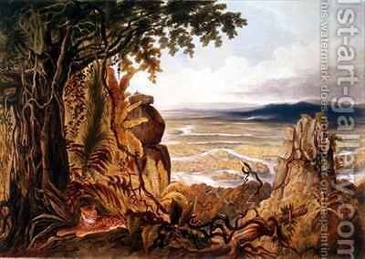 The Comuti or Taquiare Rock, on the River Essequibo by (after) Bentley, Charles - Reproduction Oil Painting