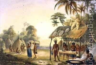 Watu Ticaba, a Wapisiana Village by (after) Bentley, Charles - Reproduction Oil Painting