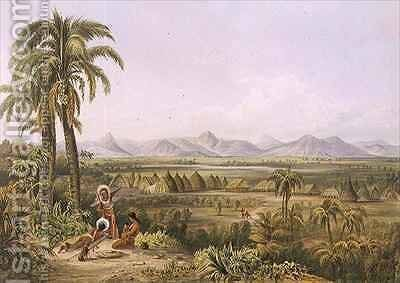 Pirara and Lake Amucu, the Site of El Dorado by (after) Bentley, Charles - Reproduction Oil Painting