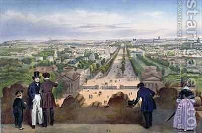 General View of the Champs-Elysees, taken from the top of the Arc de Triomphe by (after) Benoist, Felix - Reproduction Oil Painting
